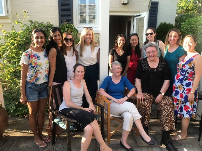 Dr. Lorrie Langdale hosting her surgical mentor and the Women in Surgery group in her garden