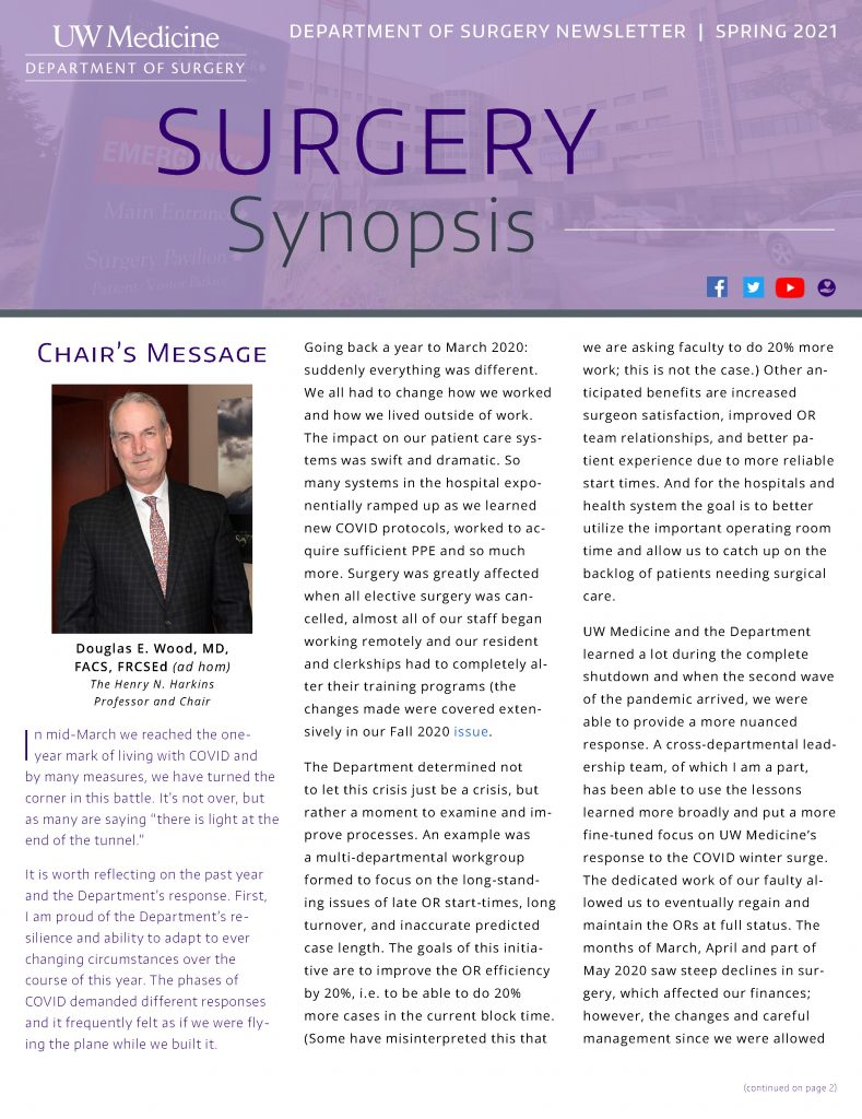Surgery Synopsis Spring 2021 Issue Front Cover